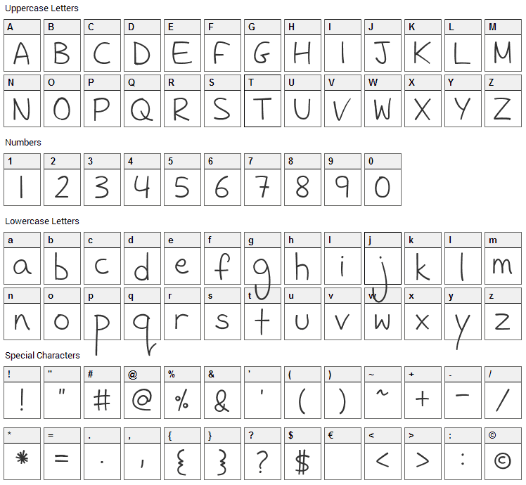 FH Sneaky Font Character Map