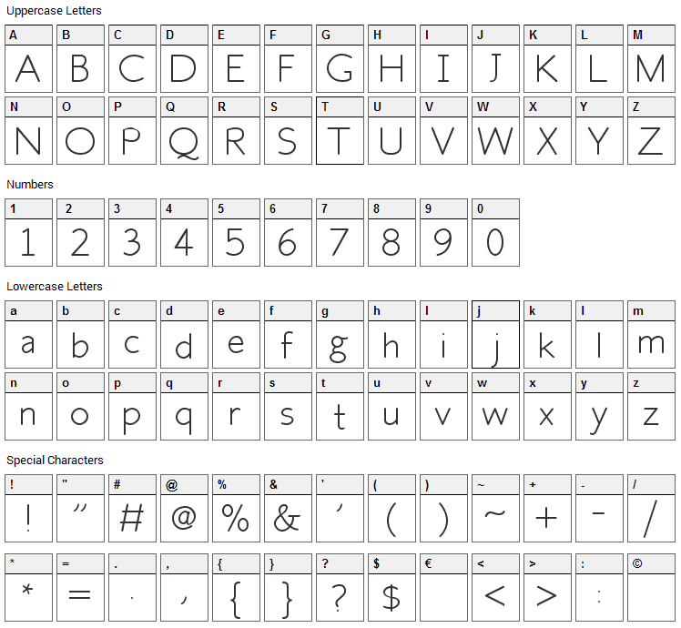 Fh Space Font Character Map