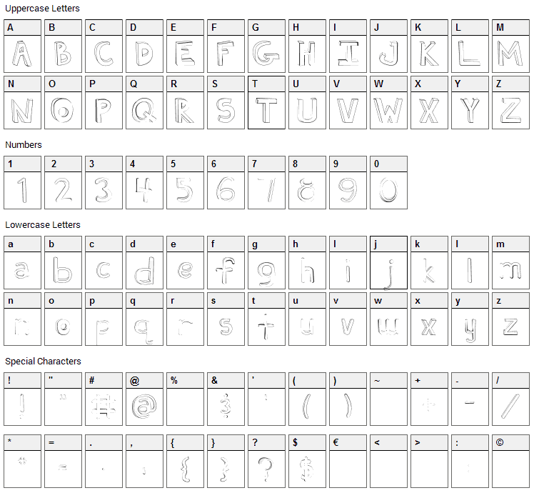 Fh Ugly Font Character Map