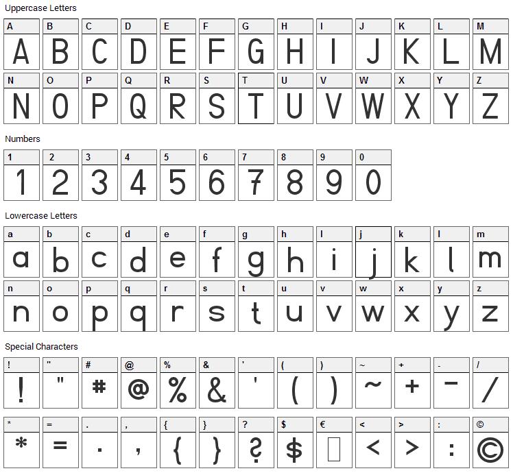 Fibel Font Character Map