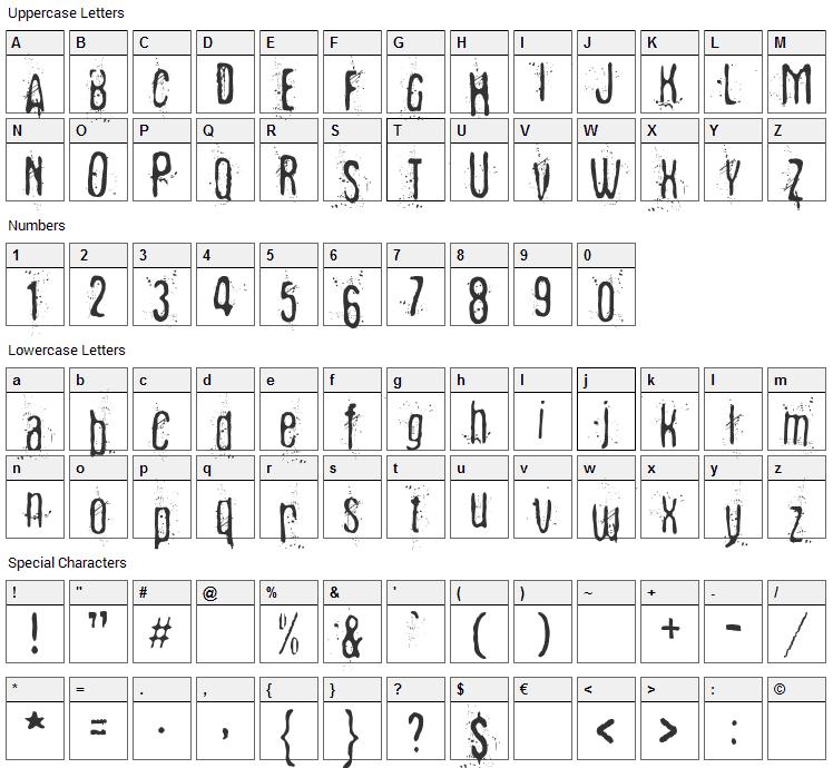 Fibyngerowa Font Character Map