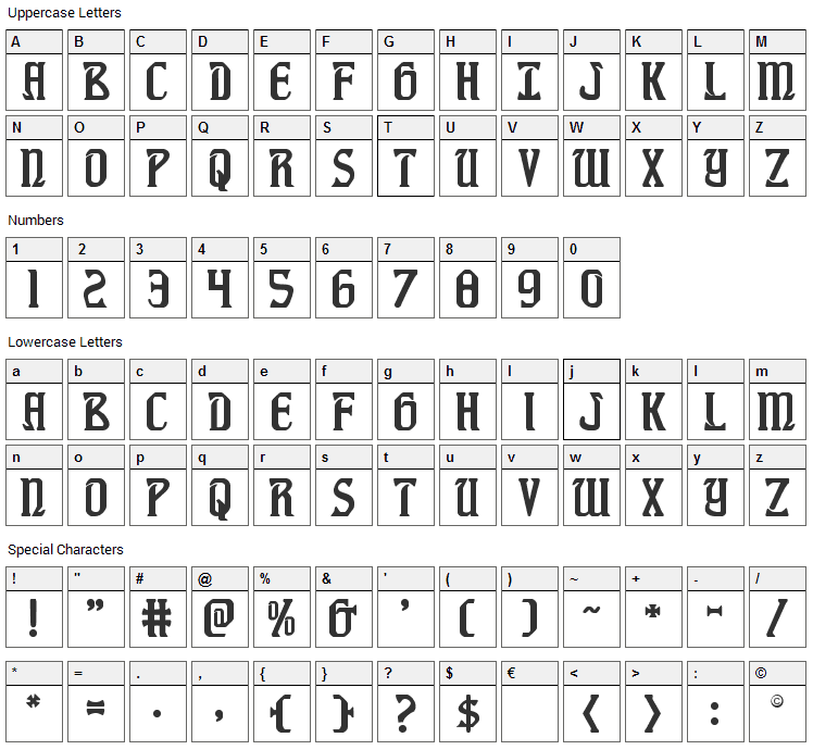Fiddlers Cove Font Character Map