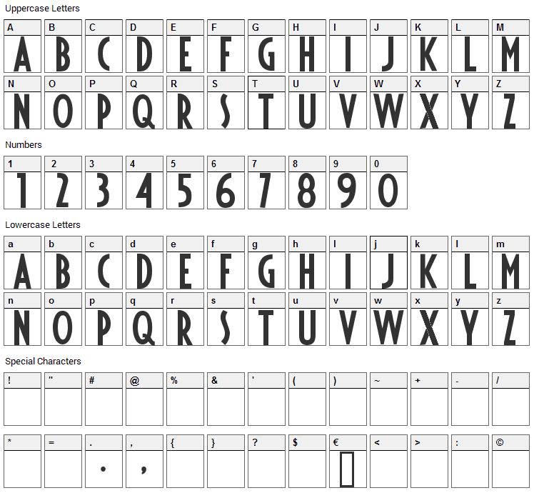 Fiesta Font Character Map