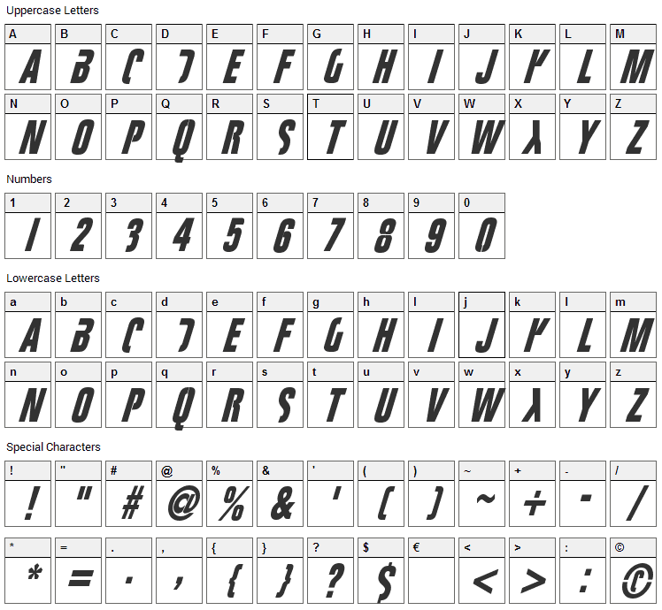 Fight This Font Character Map