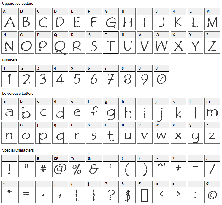 Film Cryptic Font Character Map