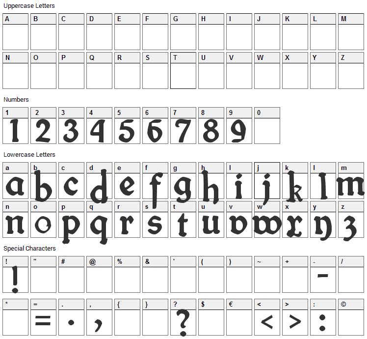 Fin Fraktur Font Character Map