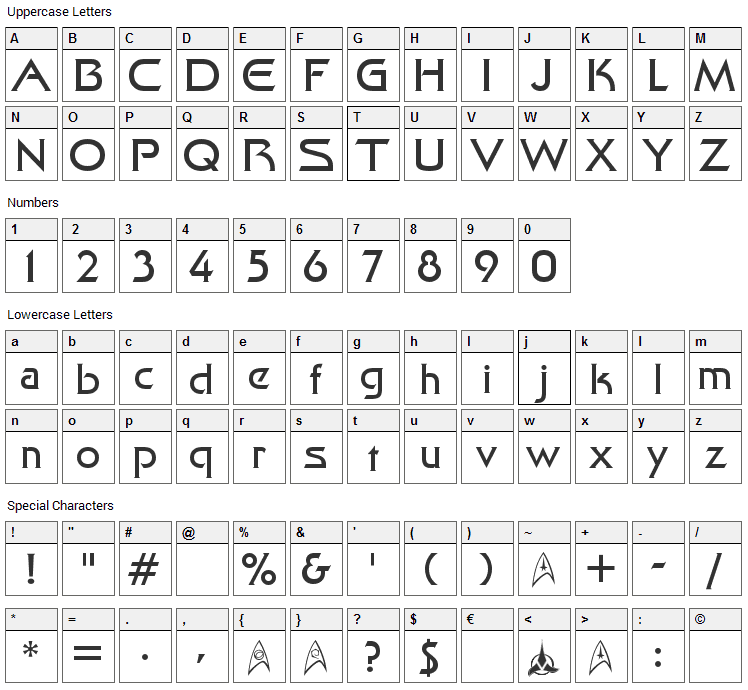 Final Frontier Font Character Map