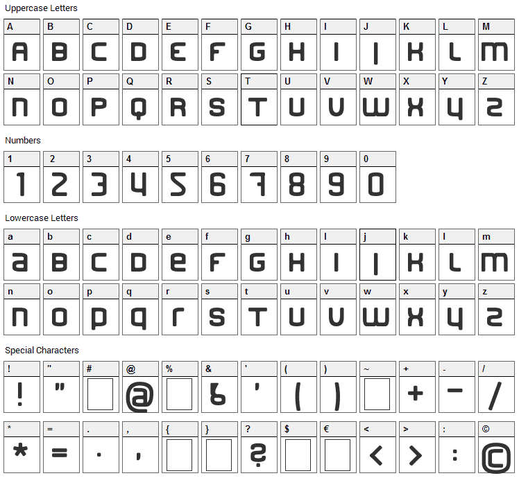 Finder Font Character Map