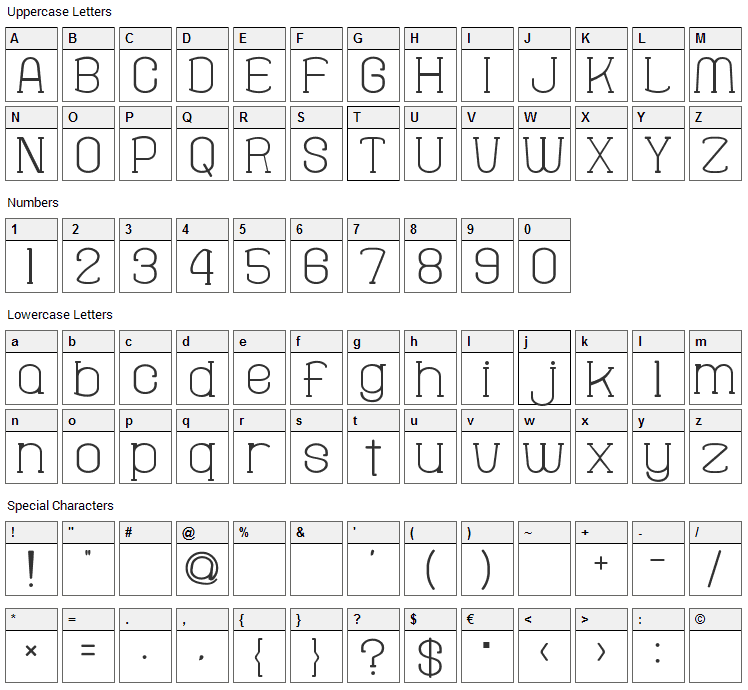 Fine Serif Hosomozi Font Character Map