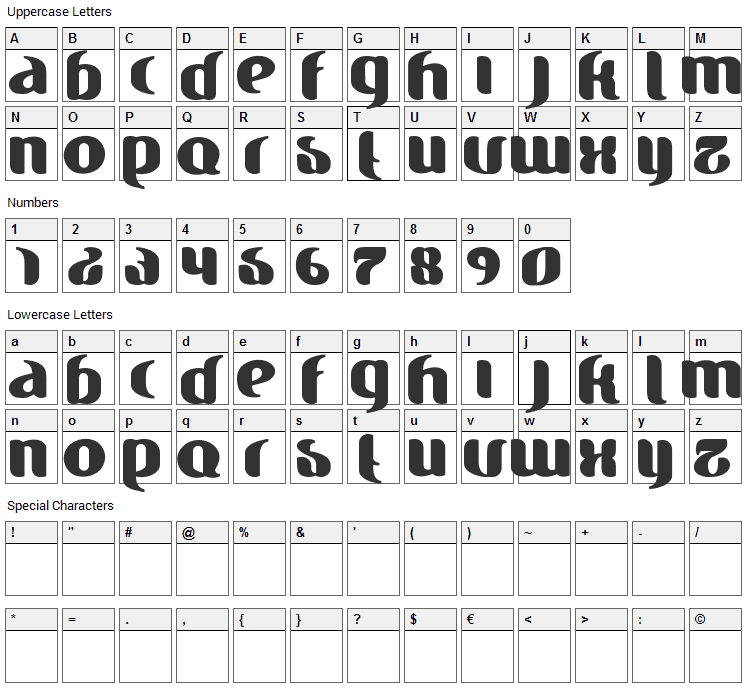 Finesse Font Character Map
