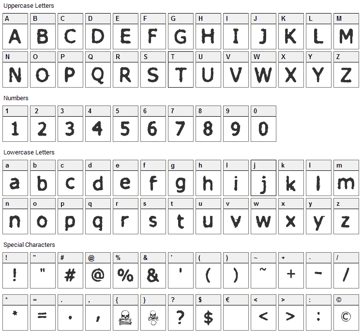 Finitimus Iungo Font Character Map