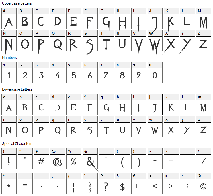 Fiolex Mephisto Font Character Map