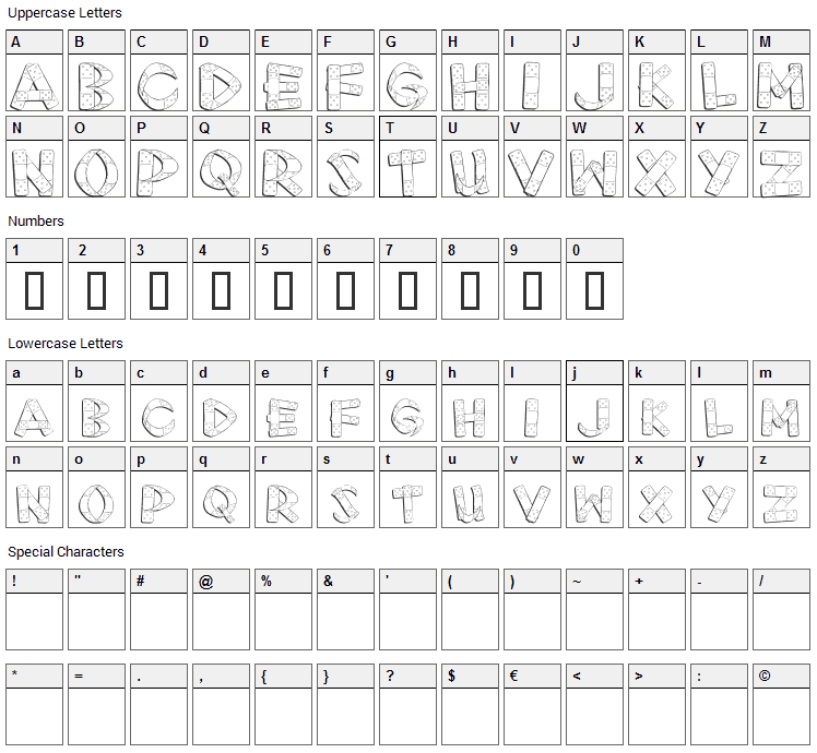 First Aid Font Character Map