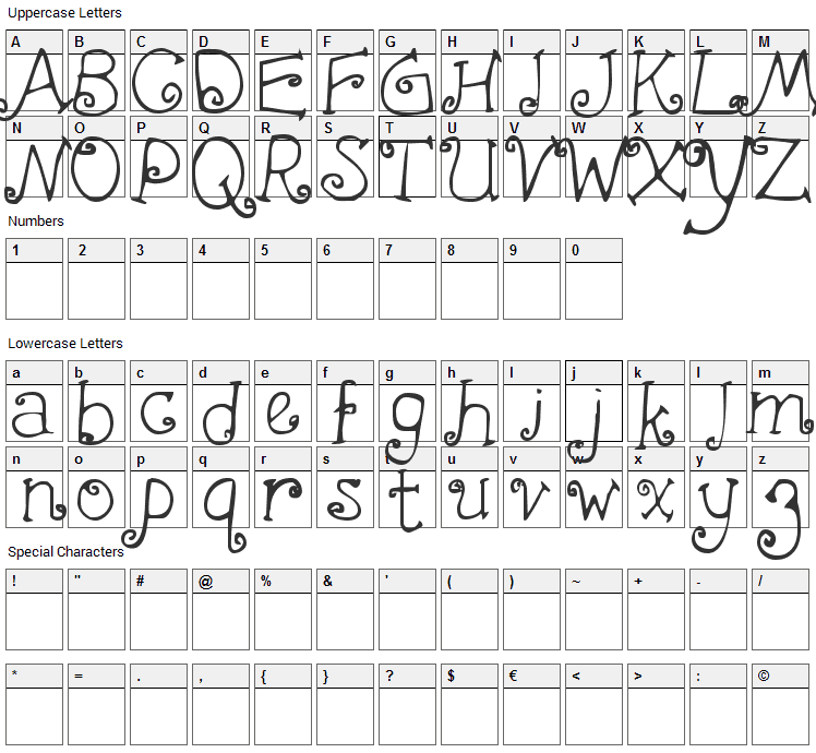 First Crush Font Character Map