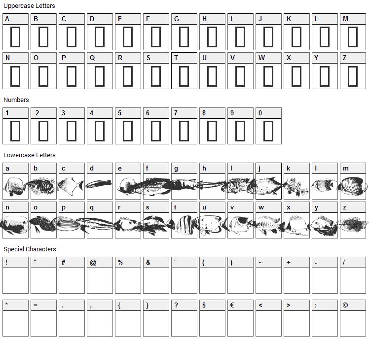 FishyPrint Font Character Map