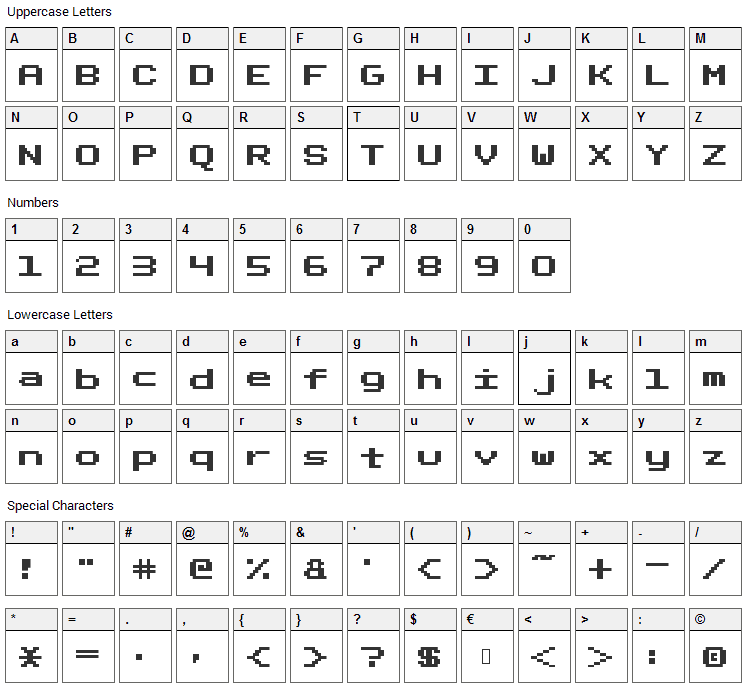 Fixed_bold Font Character Map