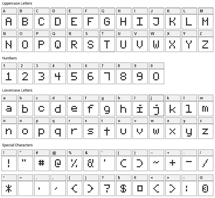 Fixed_v01 Font Character Map