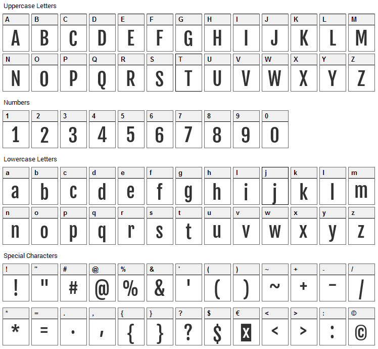 Fjalla One Font Character Map