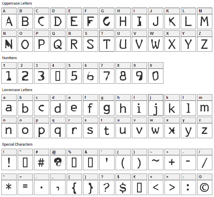 FKR ParkLife Font Character Map