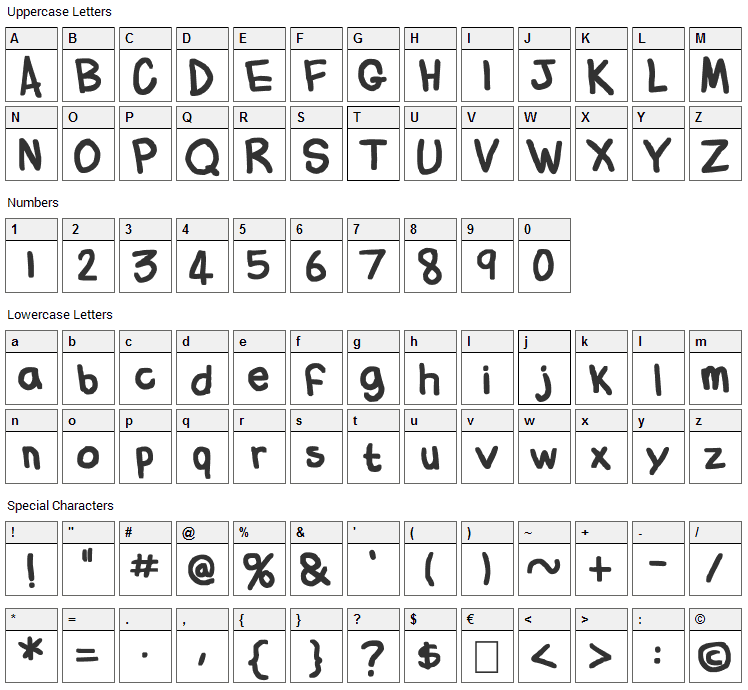 Flabby Bums Handwriting Font Character Map