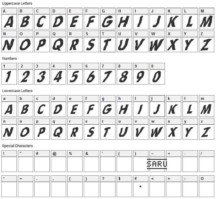 Flag sRB Font Character Map