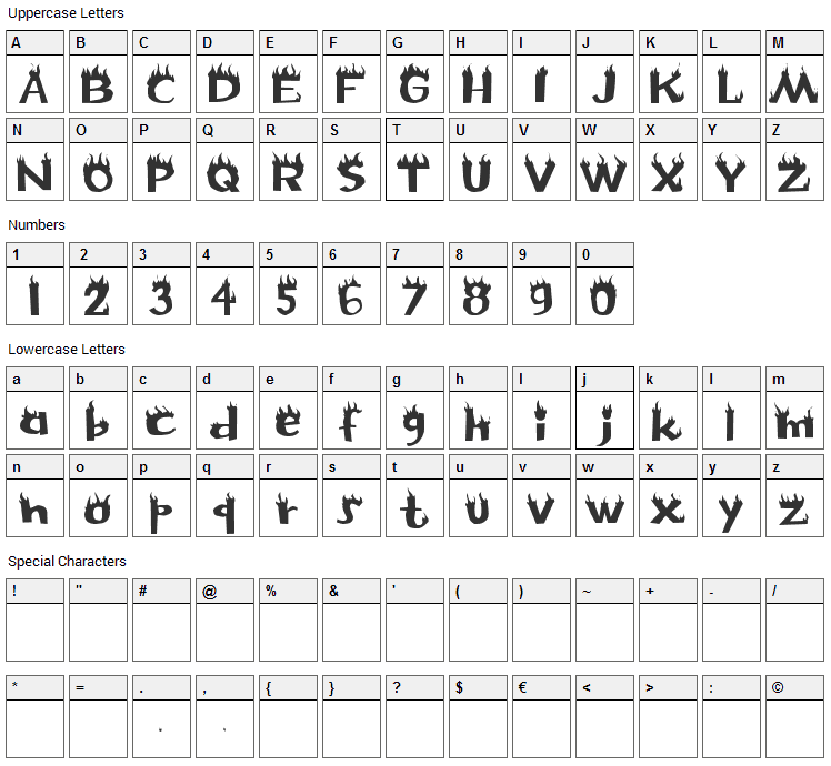 Flame Font Character Map