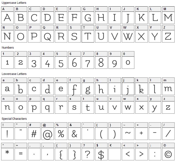 Flamenco Font Character Map