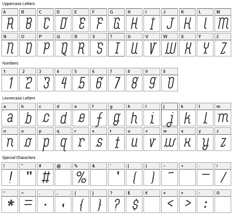 Flash Boy Font Character Map