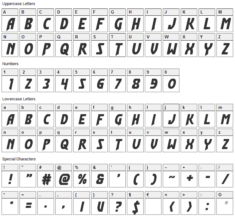 Flash Rogers Font Character Map