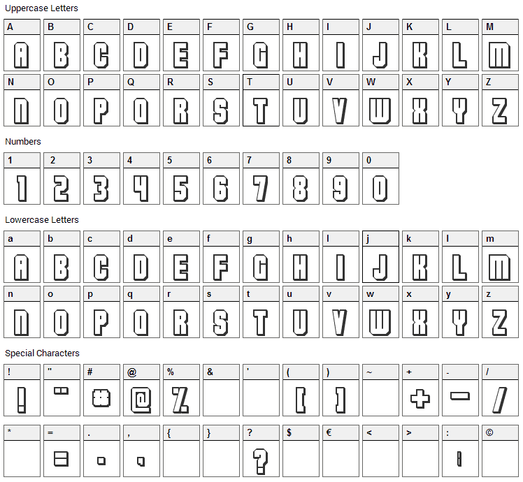 Flashback V3 Font Character Map