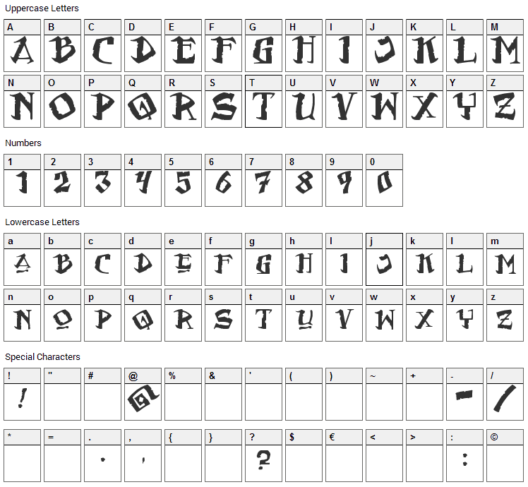 Flat Earth Scribe Font Character Map