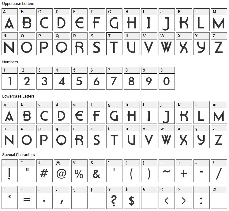 Flatey Font Character Map