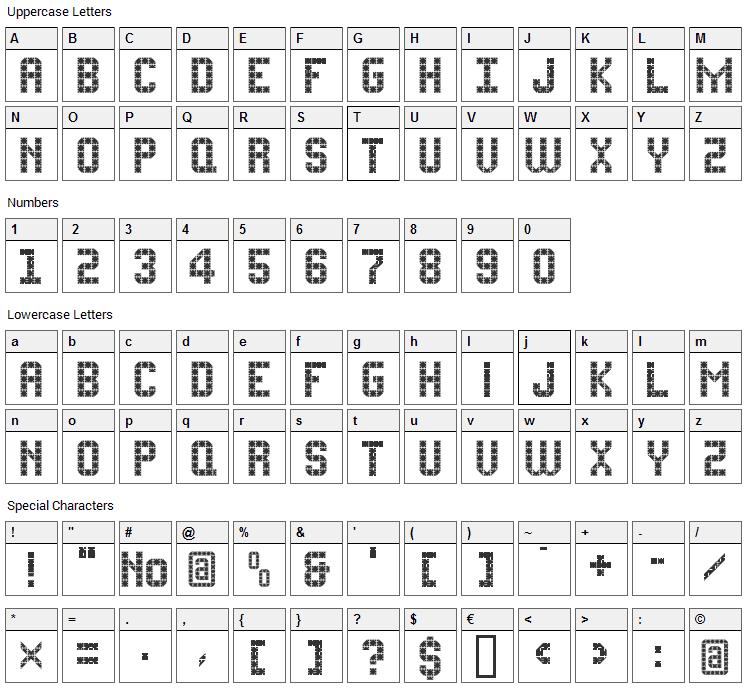 FlatPack Font Character Map