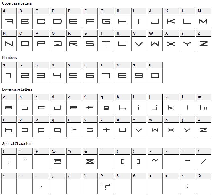 Flats Font Character Map
