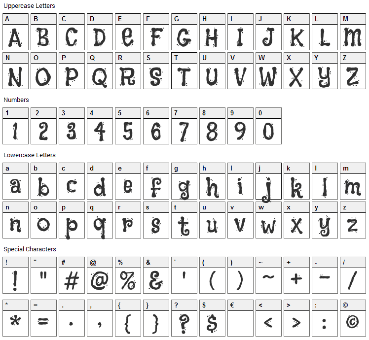 Flavors Font Character Map