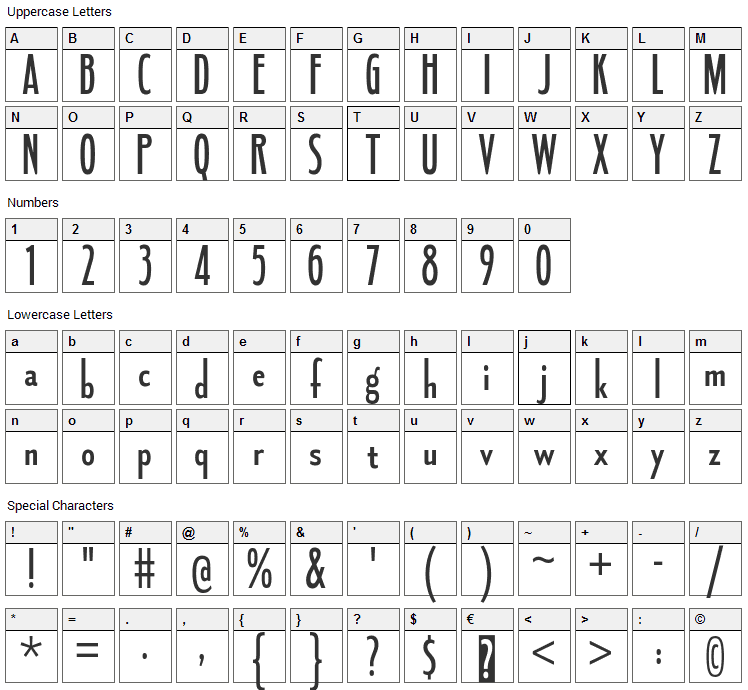Fledgling Font Character Map