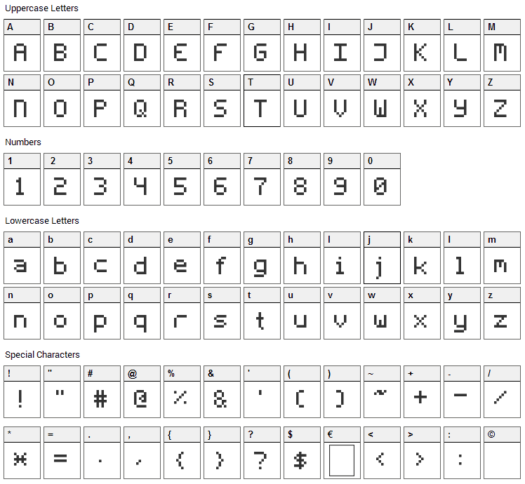 Fleftex Mono Font Character Map