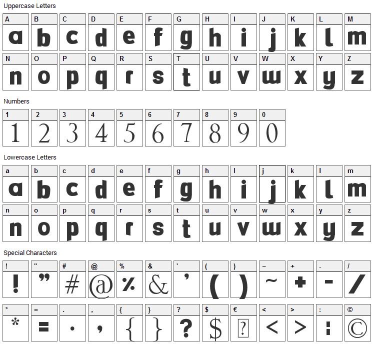 FlexiBendi Font Character Map