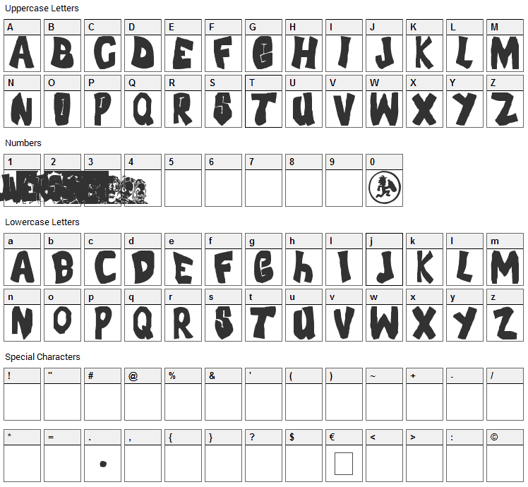 FLH Font Character Map