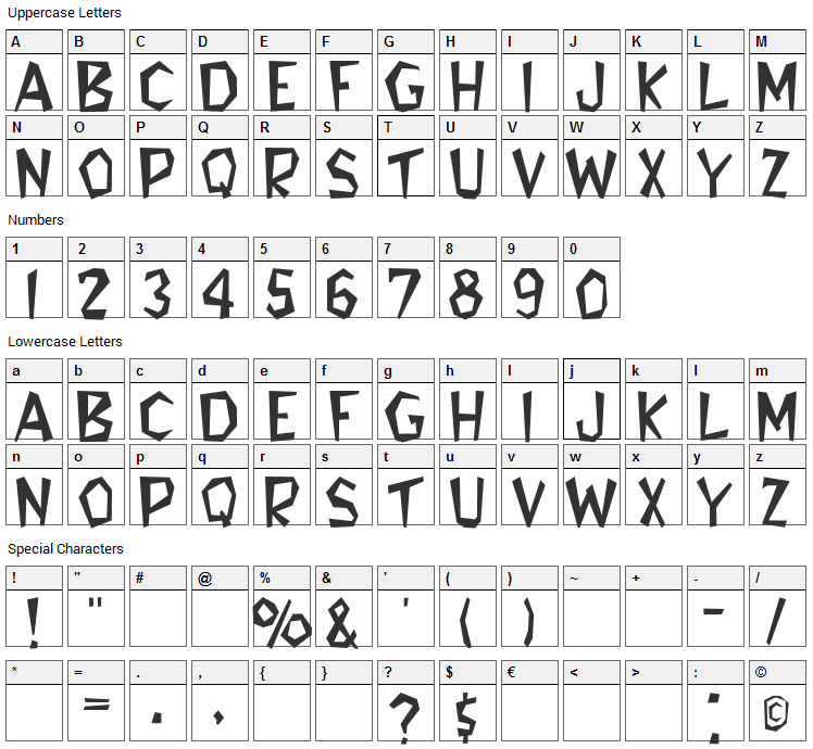 Flintstone Font Character Map