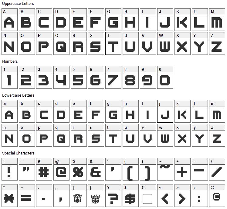 Flipbash Font Character Map
