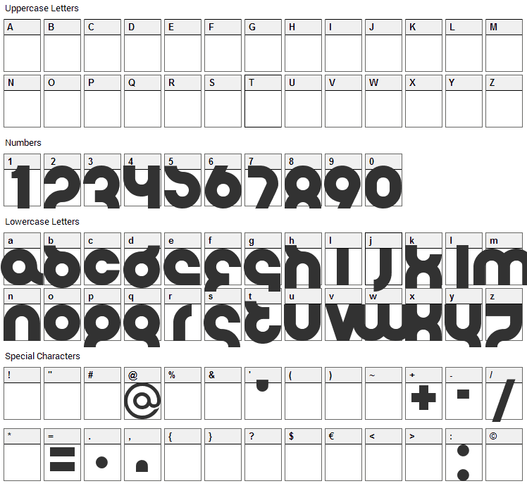 Flirt Bobo Bold Font Character Map