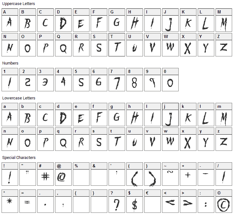 Flogged Font Character Map