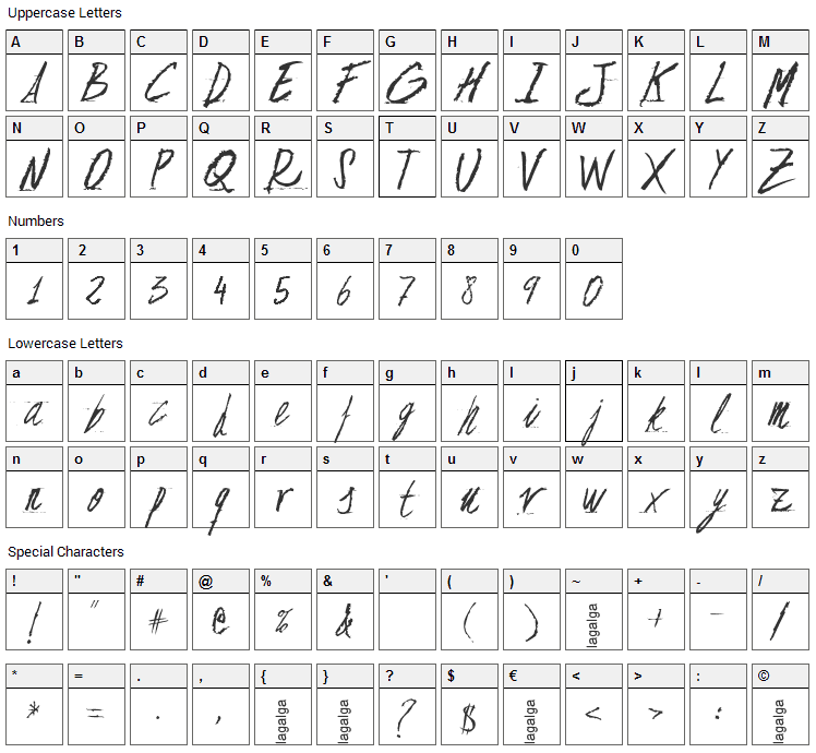 Floja Script Font Character Map
