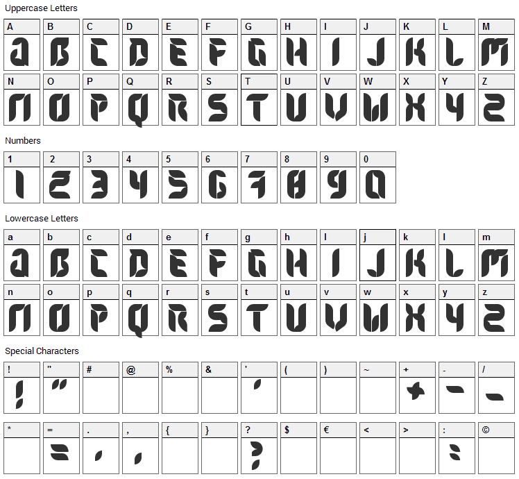 Flora Font Character Map