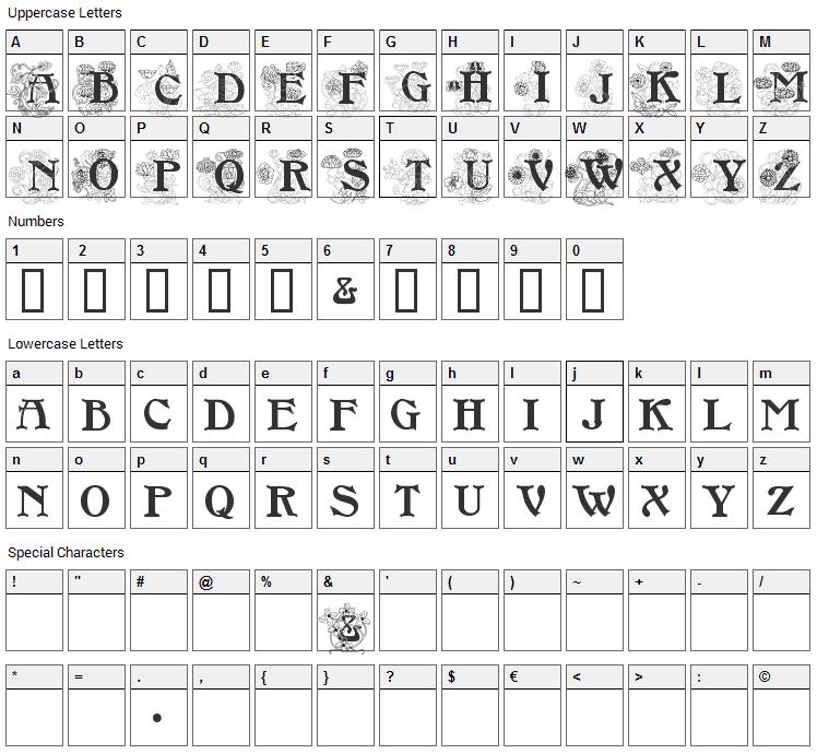 Floral Caps Nouveau Font Character Map