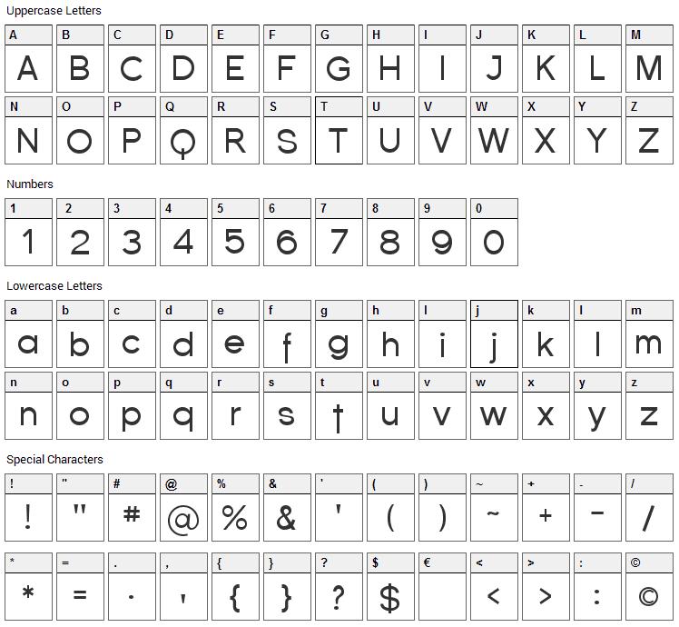 Florencesans Font Character Map