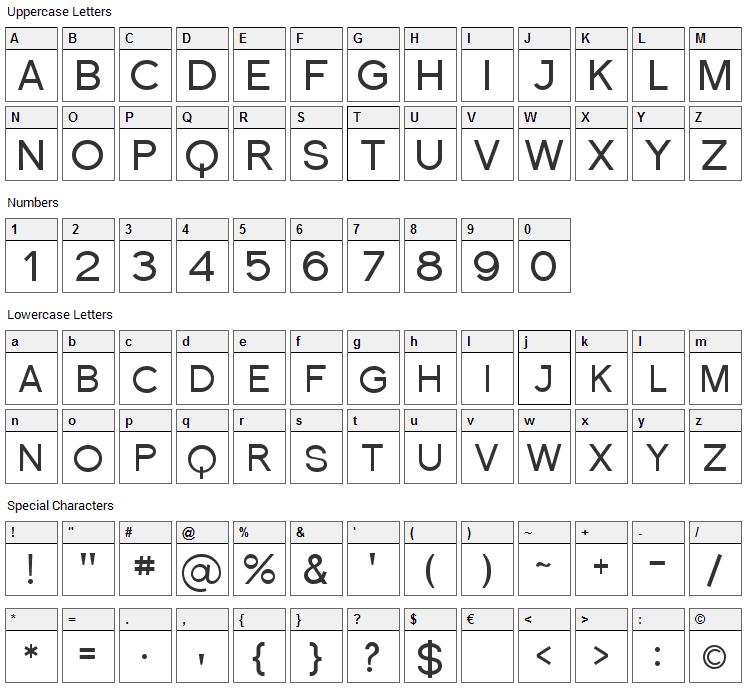Florencesans SC Font Character Map