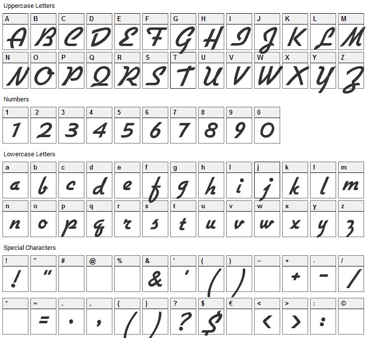 Flottflott Font Character Map
