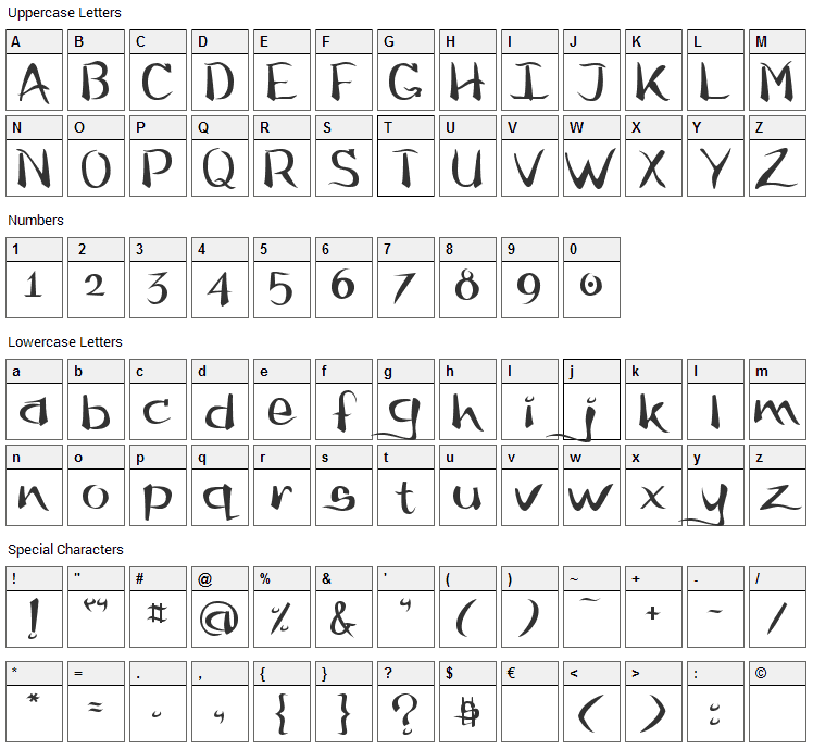 Flow Font Character Map